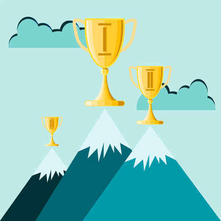 peak: Business success trophy cup on top of the mountain peak vector illustration. Illustration