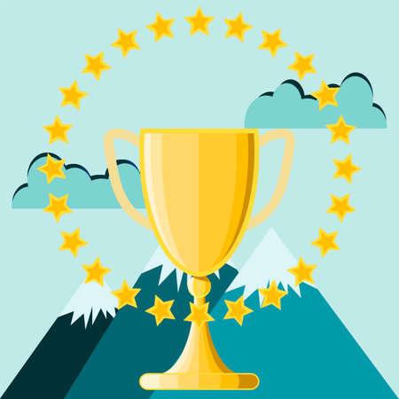 pico: El �xito del negocio, taza del trofeo en la parte superior del pico de la monta�a, ilustraci�n vectorial.