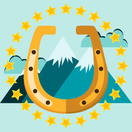 golden horseshoe: Golden horseshoe with mountains and stars. Illustration on white background for design