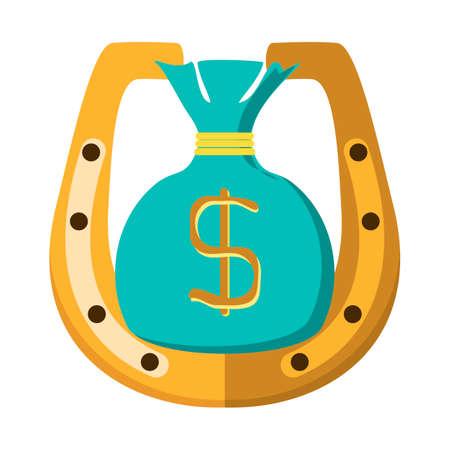 golden horseshoe: Golden horseshoe and money bag dollar coins. Illustration on white background Illustration
