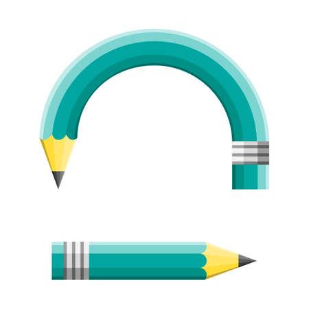 reviser: Changement cr�atif et modification d'une strat�gie planifi�e comme un crayon vert adapter aux changements en courbant et pointant vers une direction diff�rente de but et d'autre strat�gie comme un concept de l'�ducation et des affaires. Illustration