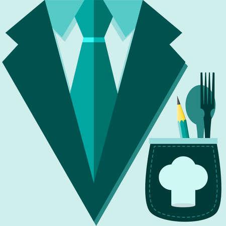 restaurateur: Concept de maillot de profession. chef, restaurateur dans un costume, une casquette sur la poche avec un crayon, fourchette et cuill�re. Vector illustration