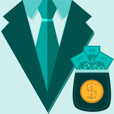 investor: Concept of profession suit. investor, businessman  with money. Vector illustration