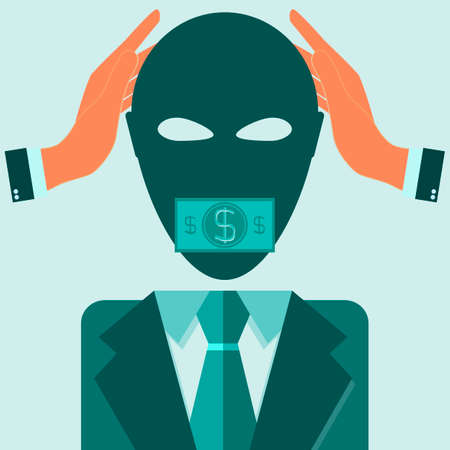 traitor: man in suit covering his ears with his hands and his mouth sealed by dollar bills for bribe concept