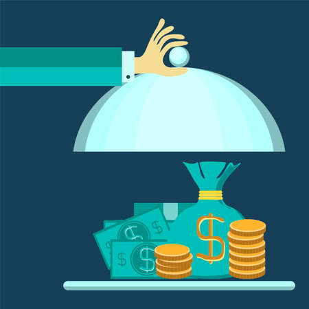 Flat design style modern vector illustration concept of businessman offering a money on the serve plate for funding a commercial project or investment in bank deposit. Isolated on the blue background Ilustração