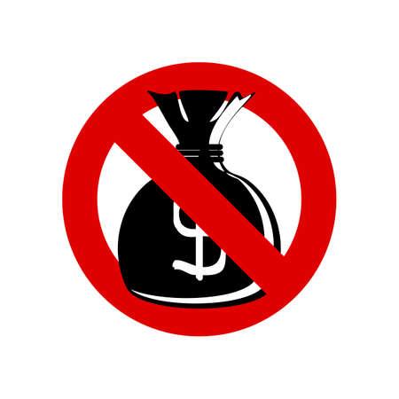 with no money: No Money bag sign Illustration