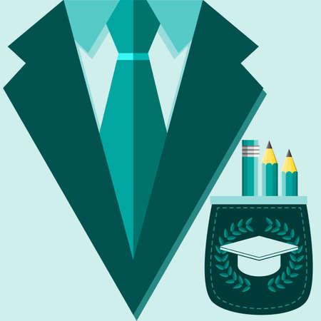 restaurateur: Concept de maillot de profession. professeur, �tudiant, professorr dans un costume, chapeau universitaire Square sur la poche. Vector illustration