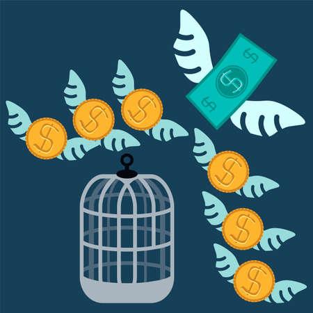 flying money: Dinero gratis. Jaula abierta con el dinero del vuelo. Concepto de negocio.
