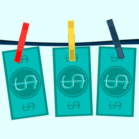 laundering: Money laundering in washing machine vector illustration