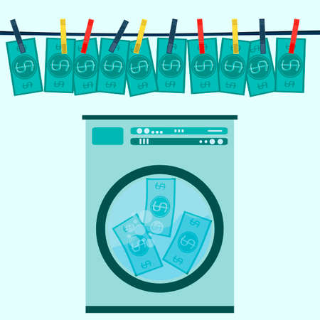 laundering: Money laundering in washing machine vector illustration