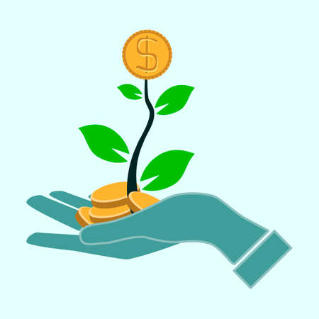 investment concept: money growth in hand investment concept