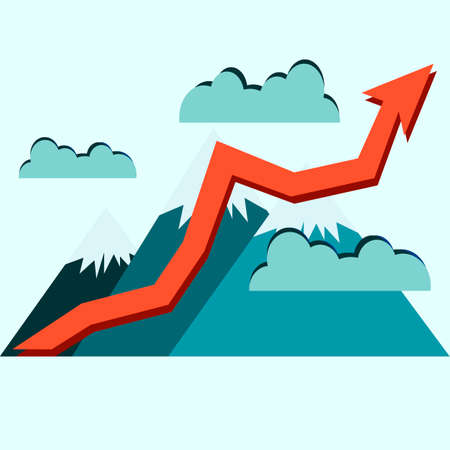 stock market graph: Growth of stock market graph. Higher than the mountains concept illustration. Success.