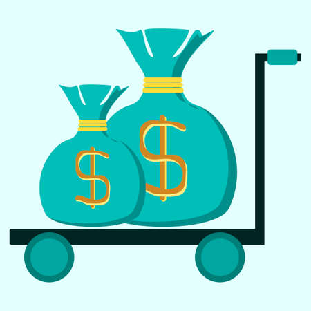 payday: trolley with two bags of money