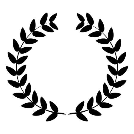 Laurel wreath icon or sign isolated on white background. Vector illustration. Illustration