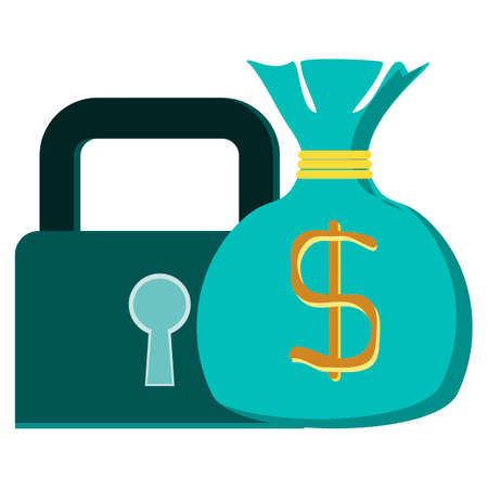 financial assets: Concept vector graphic- protecting wealth ( money ) & lock symbol. The graphic shows financial assets like cash & coins in bags in a lock icon. Illustration