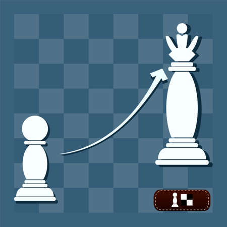 pawn to king: vector chess pawn with the shadow of a king Illustration