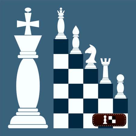 ajedrez: escalera figuras plana Diseño Ajedrez. de un peón para una reina