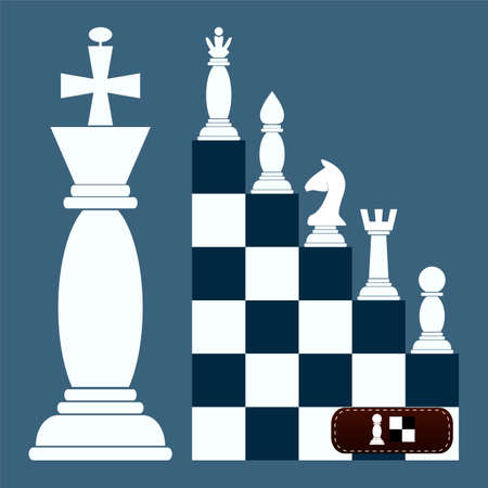 chess set: ladder Flat Design Chess Figures. from a pawn to a queen