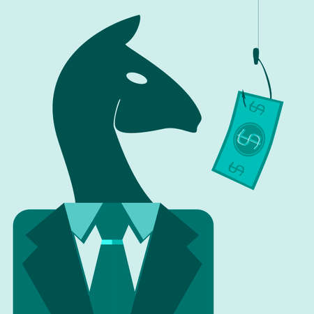 surrealistic: horse in a suit looking for money on the hook