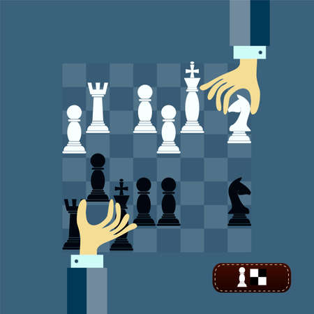 schachspiel: Konzept der Schach-Spiel-Strategie mit isolierten H�nden halten Schachfiguren auf Schachbrett. Flaches Design moderne Vektor-Illustration Illustration