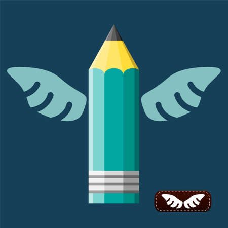 scripting: Pencil with wings, conceptual illustration for art, scripting, design themes. Logo template. Vector graphics.