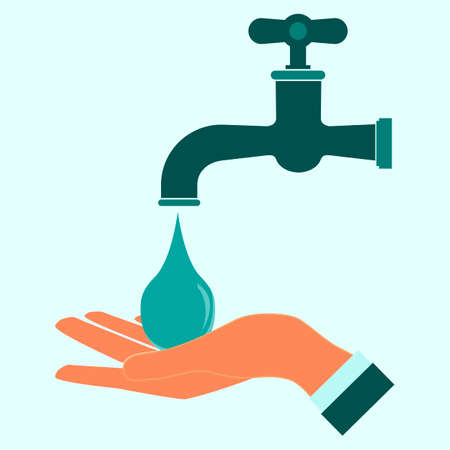 tap: Wash hands icon. Clean hand drop. Illustration
