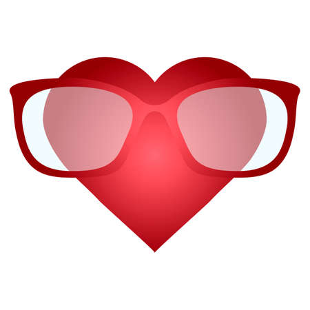 nerdy: heart with glasses, Nerdy heart, Illustration of a  heart avatar wearing glasses