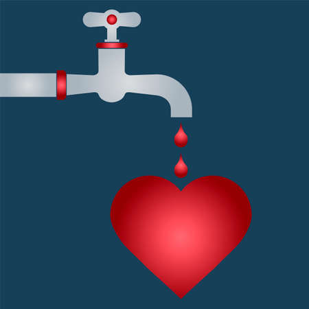 romance: Defeated heart. drop of blood from the tap. romance.