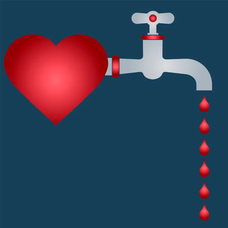 defeated: Defeated heart. drop of blood from the tap. romance.