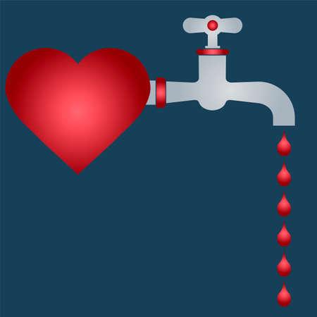 Vaincu coeur. goutte de sang du robinet. romance.