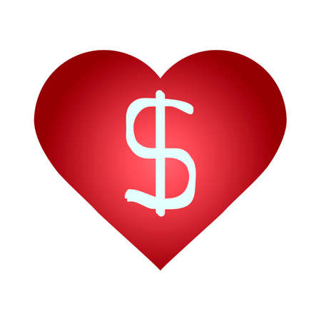 heart with a dollar sign symbol Vector