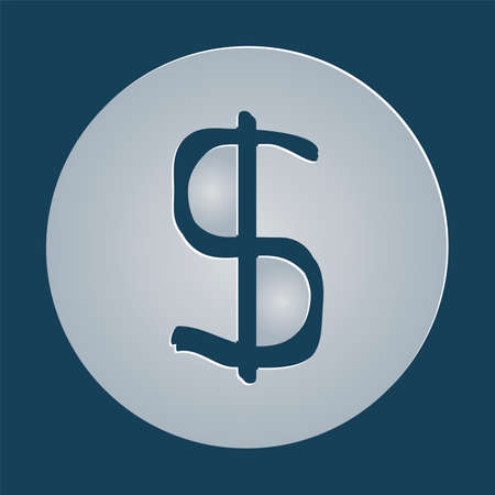 usd: Dollars sign icon. USD currency symbol. Money label. Gray flat button with shadow. Illustration
