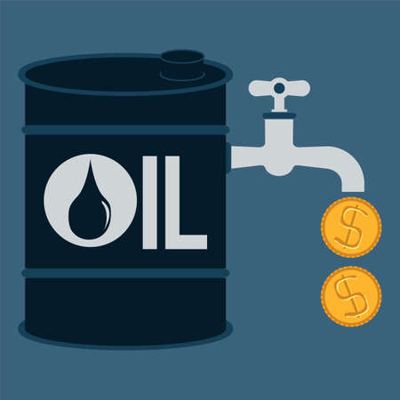 tap, valve with money drop, oil energy concept Vector