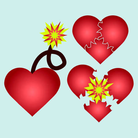 love blast: Love cartoon explosion. Falling in love. Love firework.