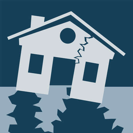 house clip art: house is damaged by an earthquake. Symbol