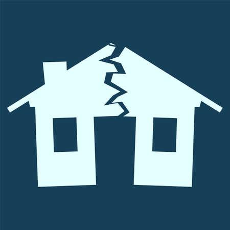 재해, 위기, 이혼의 그림으로 깨진 집의 실루엣 일러스트