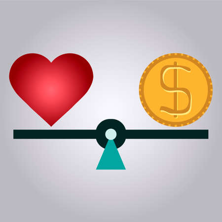 love of money: Balance between love and money.  love or money. Business concept.