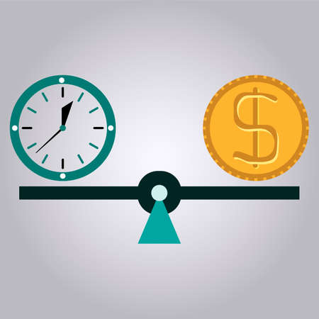 money time: Balance between time and money. Time is money. Business concept.