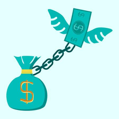 burden: Money bag locked in a debt ball and chain. Businessman with debt burden.