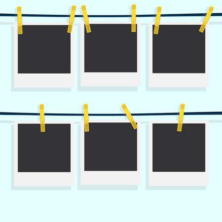 Marco de fotos Polaroid con el clothespin aislado en fondo blanco. Ilustración del vector. Realista. Secado foto.
