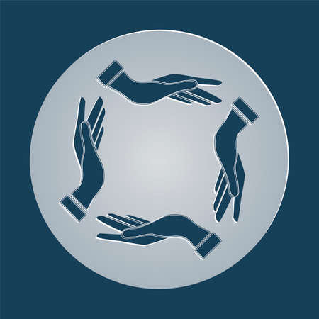 chiromancy: four opened hands in a pray gesture vector