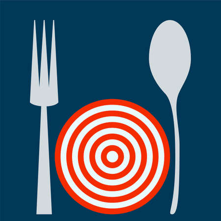 empty plate: Empty plate target with spoon and fork. Illustration