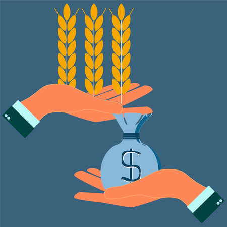 Hands holding wheat ears and money, agribusiness, agrobusiness Vector