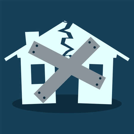 broken down: House Close Down, silhouette of broken house as illustration of disaster, crisis or divorce Illustration