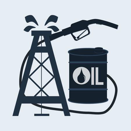 nozzle: gas pump nozzle and oil barrel Illustration