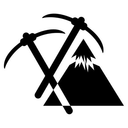 woodsman: pickaxe mountain, Mountain themed outdoors emblem Illustration