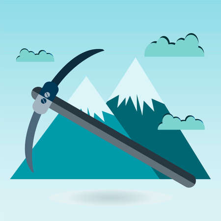 themed: pickaxe mountain, Mountain themed outdoors emblem Illustration