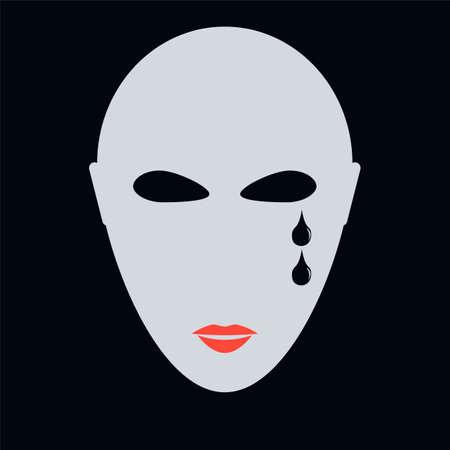 bald woman: Crying face vector illustration, Crying girl