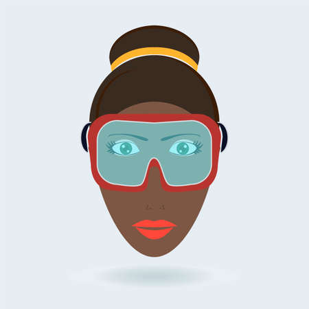 snowboard: woman in a ski mask, snowboard ski goggles, diving mask