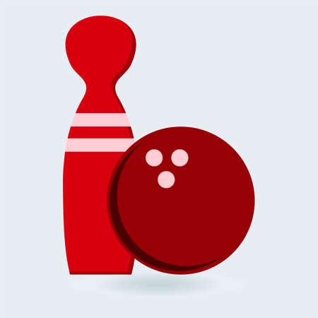 kegelen: Bowling spel teken icoon. Ball met rode kegel symbool Stock Illustratie
